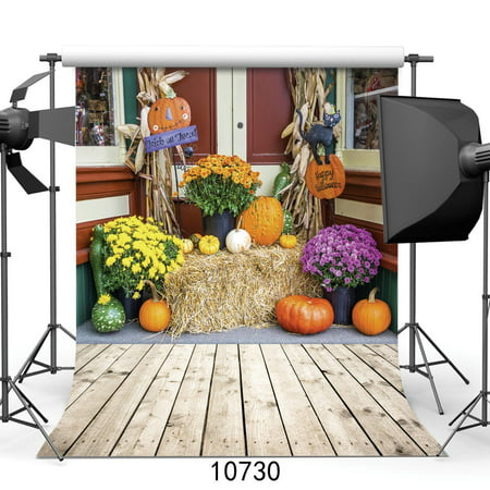 HelloDecor Polyester Fabric Happy Halloween Backdrop 5x7ft Pumpkin Photography Background Kids Party Photo Studio Props - Cute Happy Halloween Background