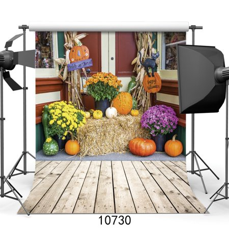 HelloDecor Polyester Fabric Happy Halloween Backdrop 5x7ft Pumpkin Photography Background Kids Party Photo Studio Props