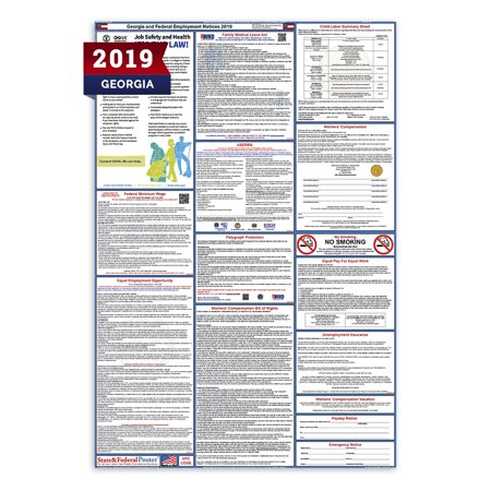 Labor Law Poster (2019 Georgia State and Federal Labor Law Poster (Laminated) )