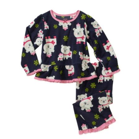 Carters Infant & Toddler Girls Blue Fleece Polar Bear Sleepwear Set Pajamas ()