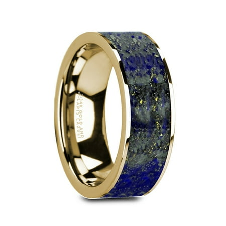 Gelasius Flat 14K Yellow Gold With Blue Lapis Lazuli Inlay And Polished Edges