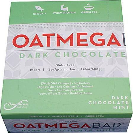 Oatmega Grass-Fed Whey Protein Bar, Dark Chocolate Mint, 14g Protein, 12 Ct