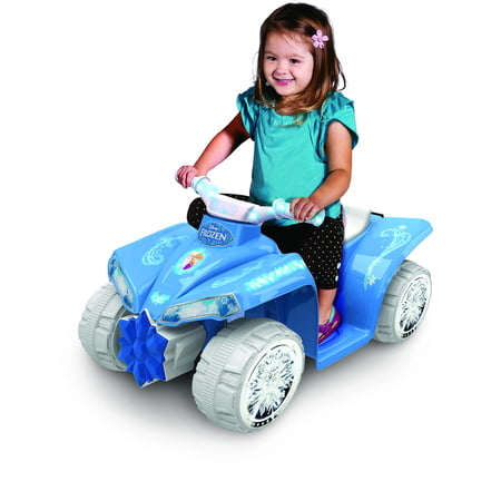 6V Light-Up Frozen Quad with Chrome snowflake wheel covers - Frozen Toys Walmart