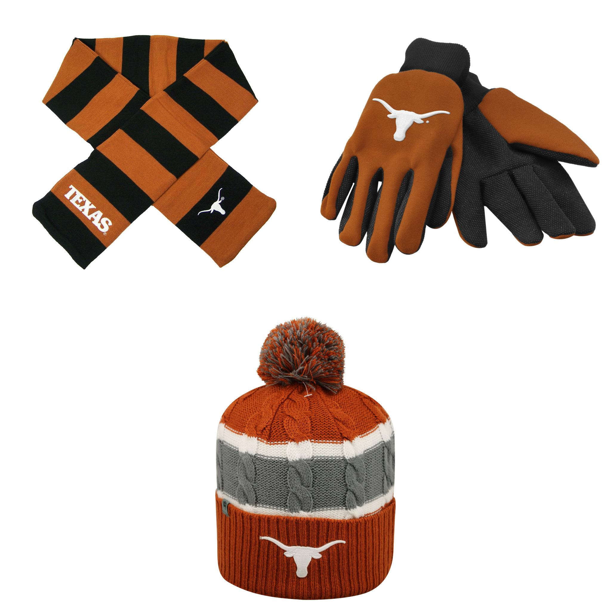 NCAA Texas Longhorns Grip Work Glove Windy Beanie Hat And Striped Rugby Scarf 3 Pack Bundle