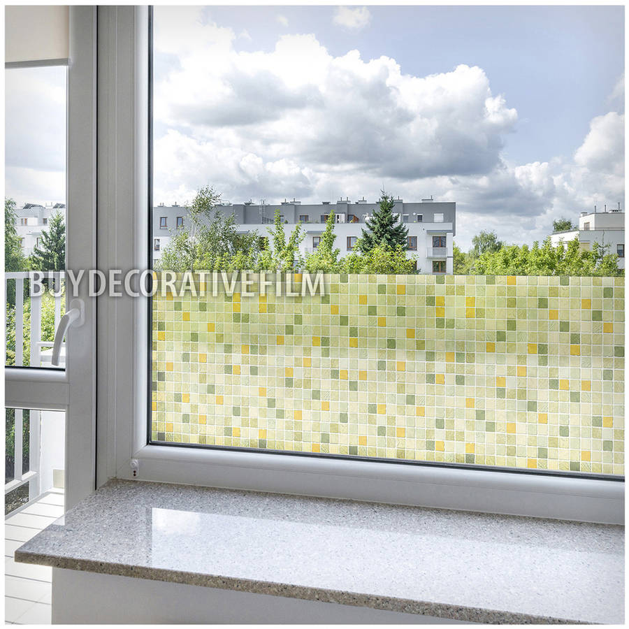 BDF 1GT Window Film Green Tile Non Adhesive Static Cling by BuyDecorativeFilm