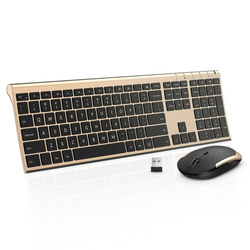 Wireless Keyboard Mouse, Jelly Comb 2.4GHz Ultra Slim Full Size Rechargeable Wireless Keyboard and Mouse Combo for Windows, Laptop, Notebook, PC, Desktop, Computer (Black and Gold)