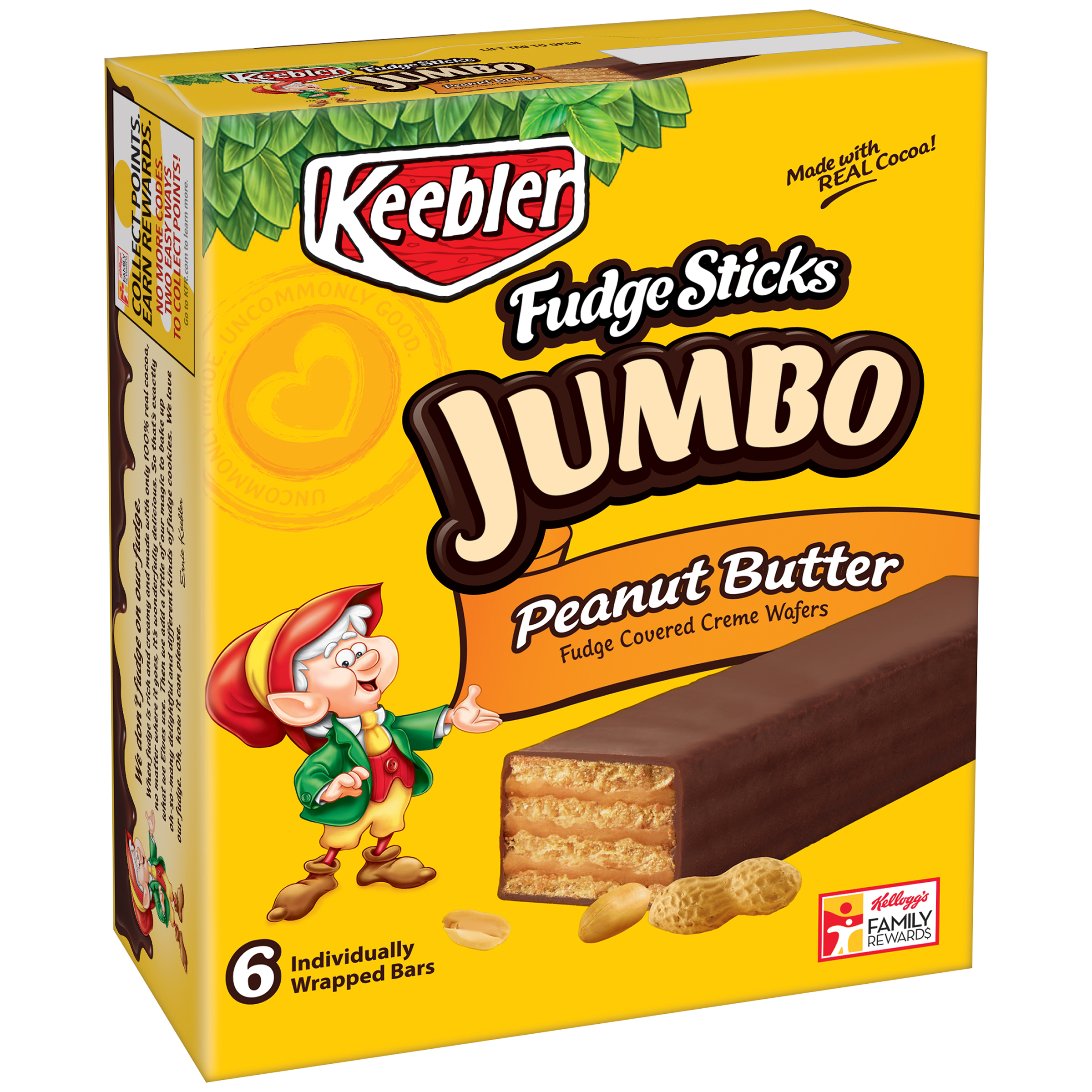 Keebler® Jumbo Fudge Sticks Peanut Butter 6-1.1 oz. Bars