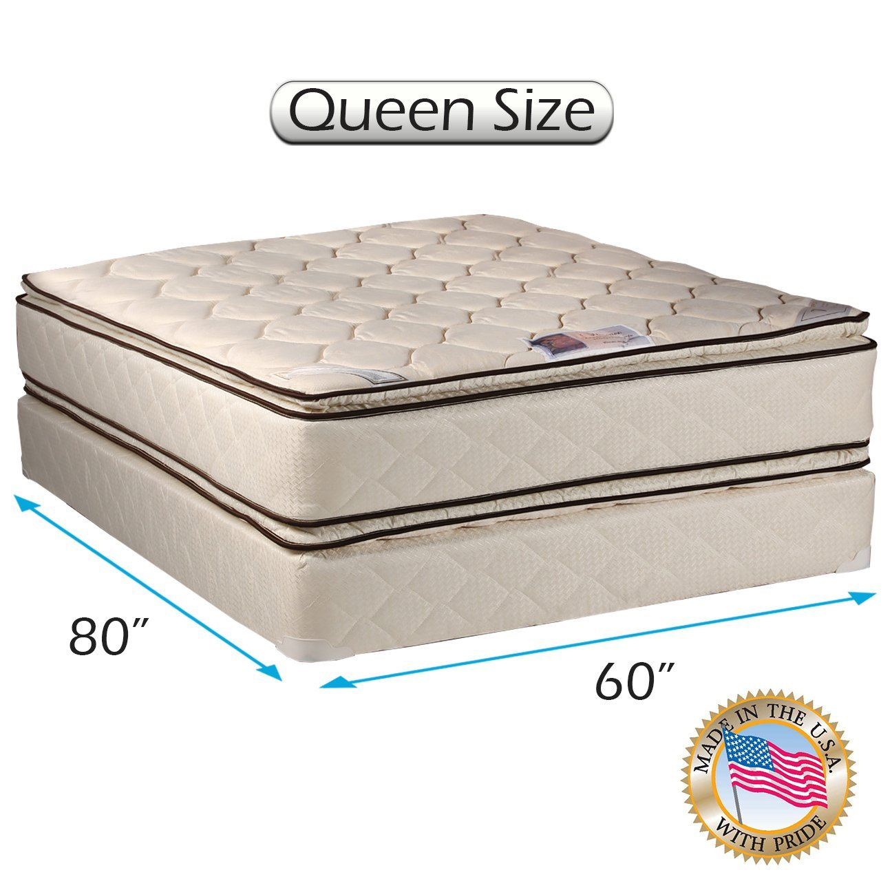 Coil Comfort Pillow Top Queen Mattress set with Bed Frame Included 2-Sided - Sleep System with Enhanced Cushion Support, Fully Assembled, Orthopedic Type, Longlasting by Dream Solutions USA