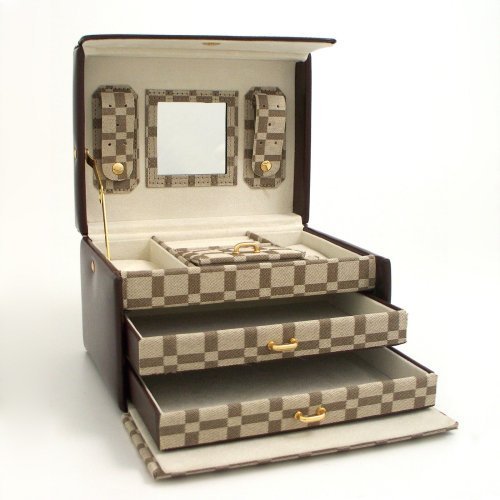 Leather & Brown Checkered Multi-level Travel Jewelry Box - 8W x 5H in.