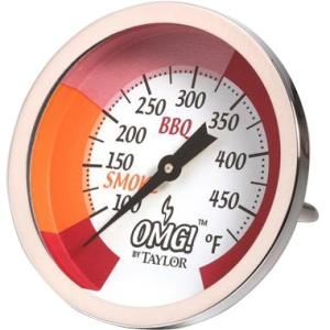 Taylor OMG! Analog Thermometer -Fahrenheit Reading - For Grill, Smoker, Barbecue