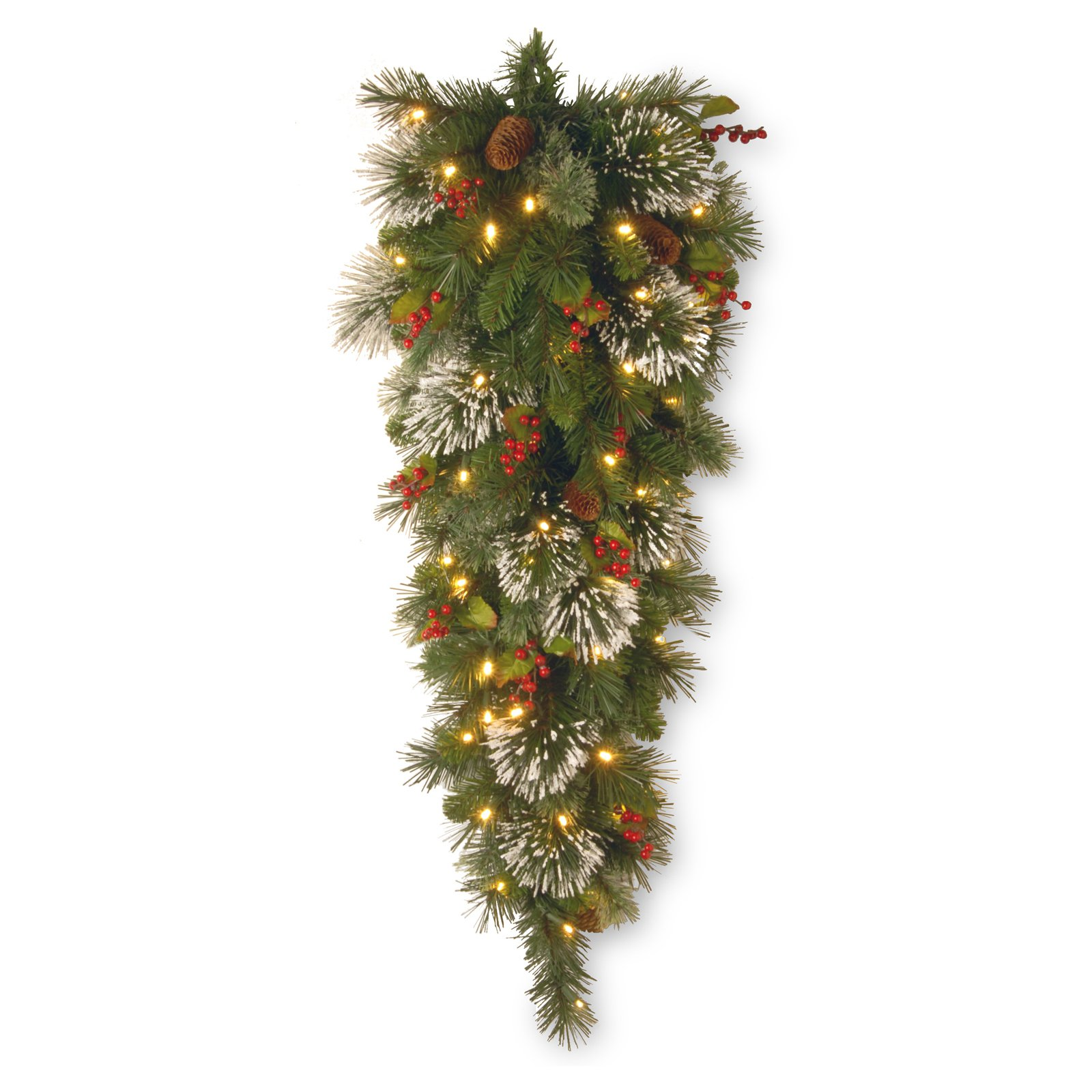 "48"" Wintry Pine Teardrop with Battery Operated Warm White LED Lights"