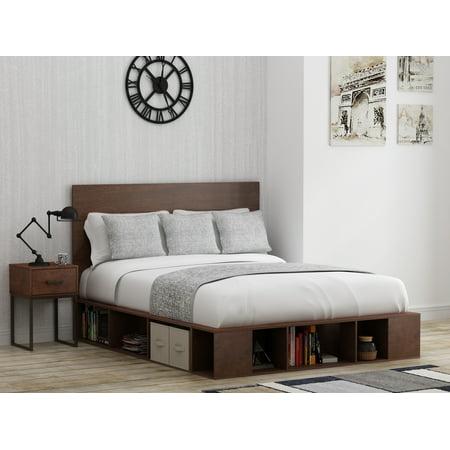 Mainstays Metal & Wood Full/Queen Platform Bed in Reclaimed Cherry