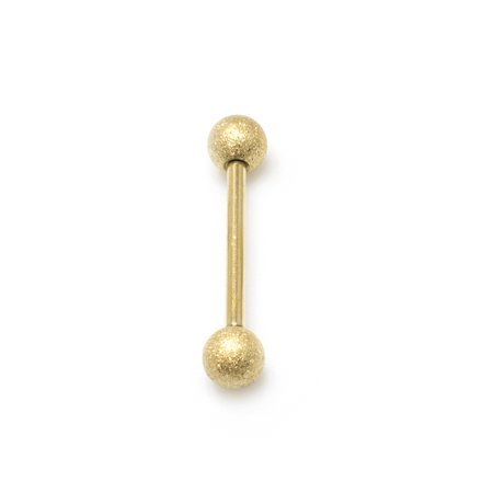 Gold Tongue Ring Barbell Surgical Steel 14G Sand Finish Nipple Navel Ring Jewelry