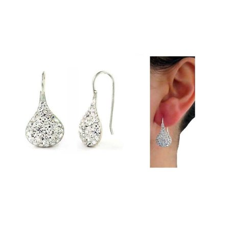 Swarovski Crystal Sterling Earrings (Sterling Silver Swarovski Elements Crystal Teardrop)