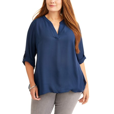 Capri Blouse - Women's Plus Size Roll Cuff Contrast Top