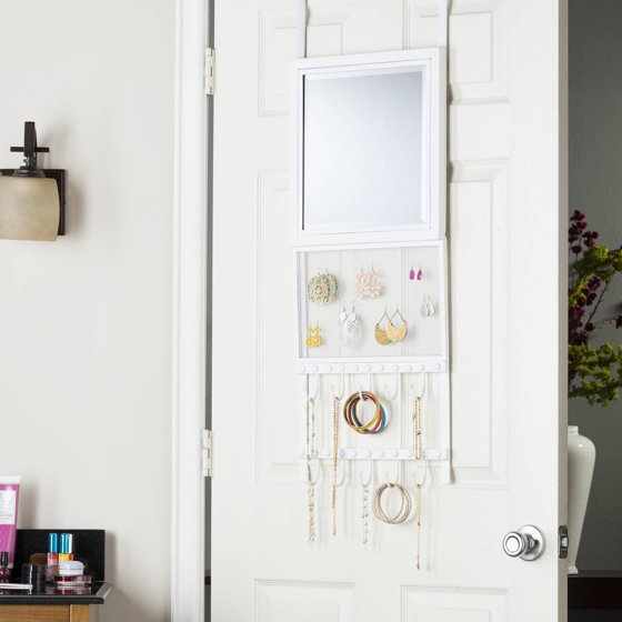 southern enterprises karley over the door jewelry storage with mirror white. Black Bedroom Furniture Sets. Home Design Ideas