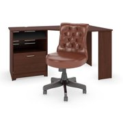 Cabot 60W Corner Desk and Chair Set in Harvest Cherry - Engineered Wood
