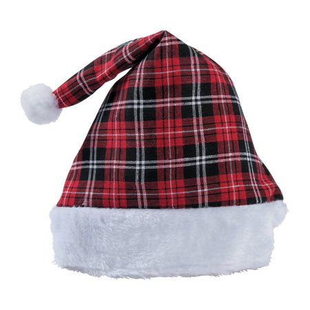 Black And White Santa Hat (CHRISTMAS PLAID SANTA HAT - Apparel Accessories - 1)