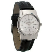 Mens Chrome Braille and Talking Watch - Leather Band