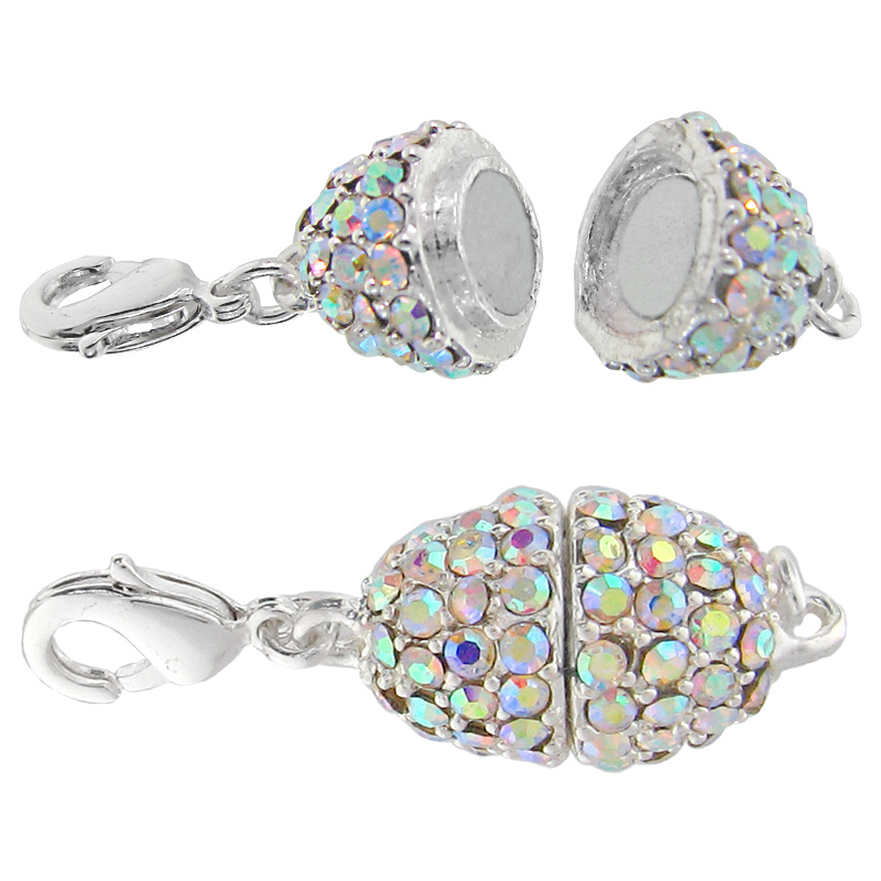 Beadelle Crystal Oval Pave Magnetic Clasp Silver Plated / Crystal AB 11x15mm (1)