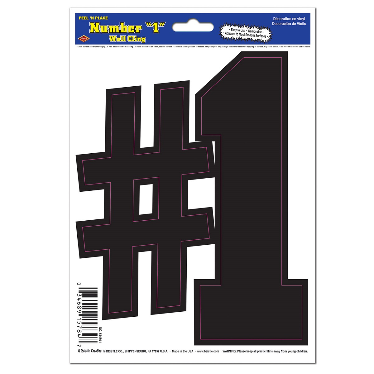 "Club Pack of 12 Black with Pink Lining ""#1""  Peel 'N Place Decoration 8.5"""