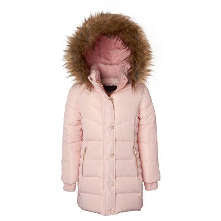 Girls Sherpa Lined Jacket (Girls Heavy Quilt Fleece Lined Long Winter Jacket Coat with Zip-Off Sherpa Hood - Blush)