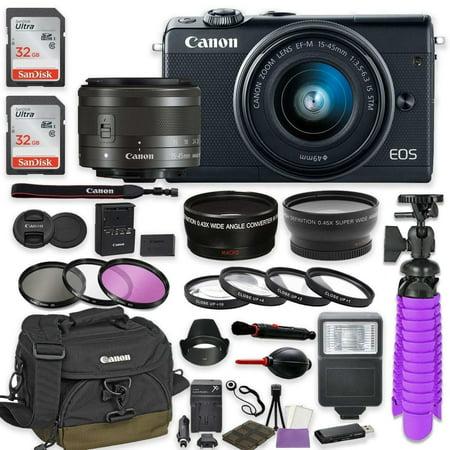 Canon EOS M100 Mirrorless Digital Camera (Black) Premium Accessory Bundle