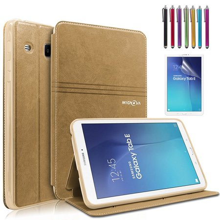 Mignova Samsung Galaxy Tab E 9.6 Case - Slim Lightweight Stand Cover for Samsung Tab E Wi-Fi / Tab E Nook / Tab E Verizon 9.6-Inch Tablet ( SM-T560 / T561 / T565 / T567V) (Gold) (Galaxy Tab 4 7 In Nook Case)
