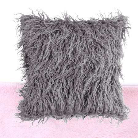 Ymiko Fluffy Sofa Pillow Long Plush Throw Cover Fur