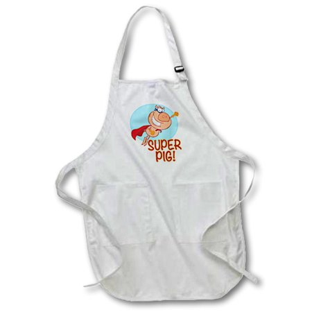 3dRose Super Pig Superhero Pig Flying, Full Length Apron, 22 by 30-inch, Black, With Pockets for $<!---->