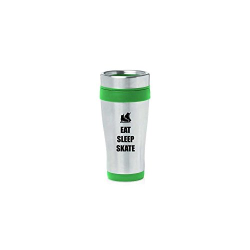 Green 16oz Insulated Stainless Steel Travel Mug Z1836 Eat Sleep Skate Ice Skates,MIP by
