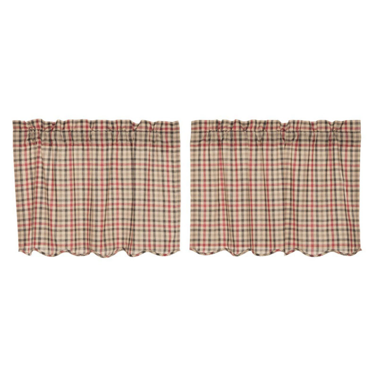 VHC Classic Country Americana Kitchen Window Curtains   Victory Scalloped  Tier Set Of 2