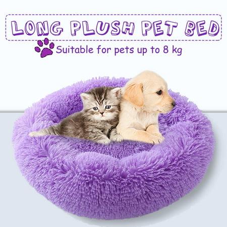 Cuddle Round Pet Bed Orthopedic Long Plush Soft Mattress Sleeping Nest Warming House Pet Cushion for Dog Puppy Cat, Purple ()