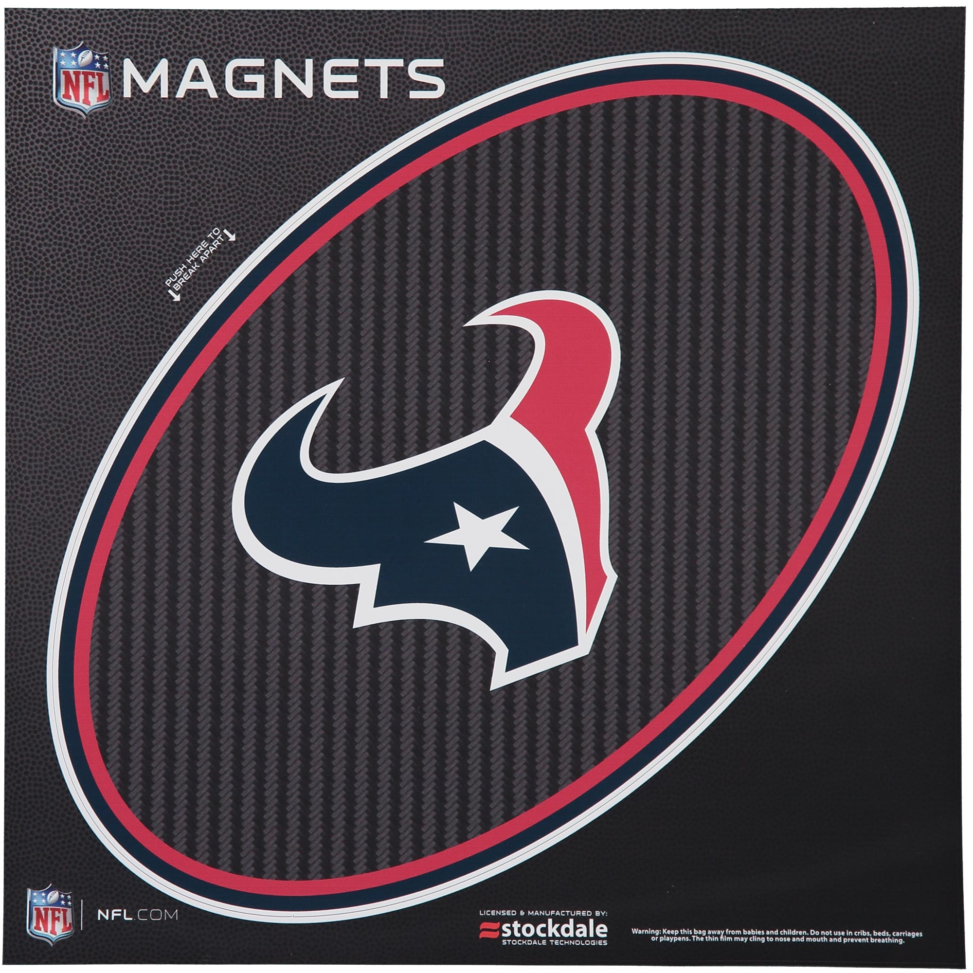 """Houston Texans Carbon 12"""" x 12"""" Oval Full Color Magnet - No Size"""