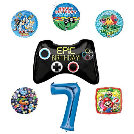Video Gamers 7th Birthday Party Supplies and Balloon Decorations (Sonic, Super Mario, Pac Man and - Mario Balloon