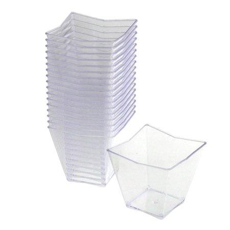 Plastic Dessert (Plastic Mini Appetizer Dessert Trapezoid Bowls, 1-3/4-Inch, 18-Piece, Clear )