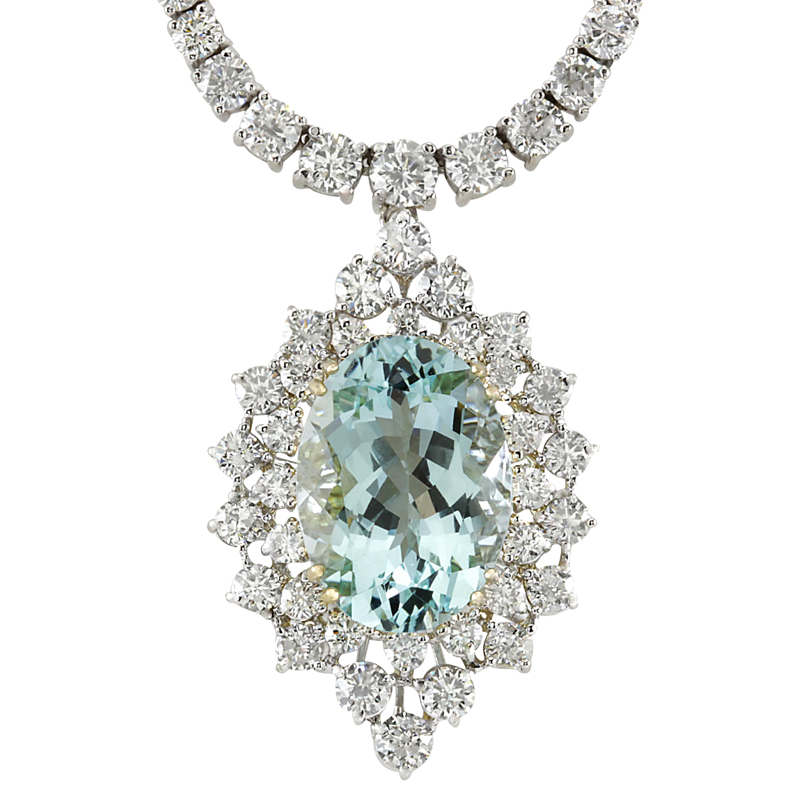 19.85CTW Natural Aquamarine And Diamond Necklace In 14K White Gold by