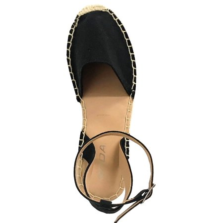 bea9d5a8f87 Soda - FIESTA Women s Espadrilles Ankle Strap Braided Platform Cap Toe  Sandals Black - Walmart.com