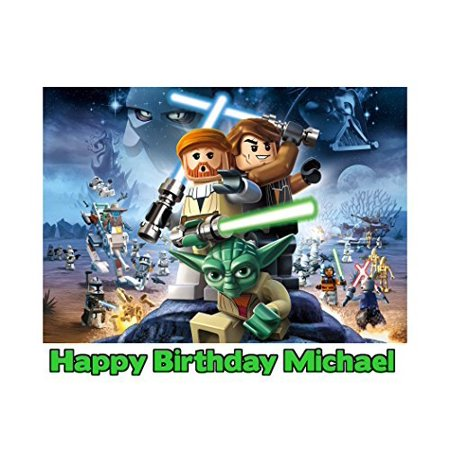 Lego Star Wars Image Photo Cake Topper Sheet Personalized Custom Customized Birthday Party - 1/4 Sheet - 79957 - Star Wars Birthday Cakes