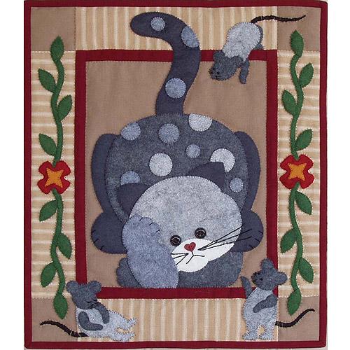 """15""""X13"""" - Spotty Cat Wall Quilt Kit"""