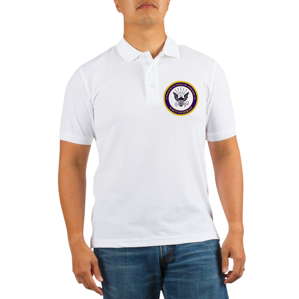 CafePress - U. S. Navy Veteran Golf Shirt - Golf Shirt, Pique Knit Golf Polo