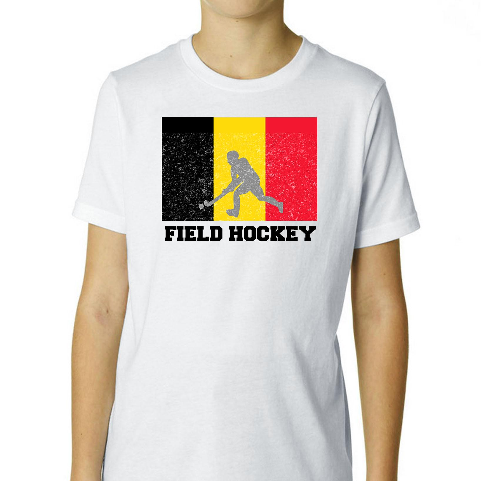 Belgium Olympic Field Hockey Flag Silhouette Boy's Cotton Youth T-Shirt by Hollywood Thread
