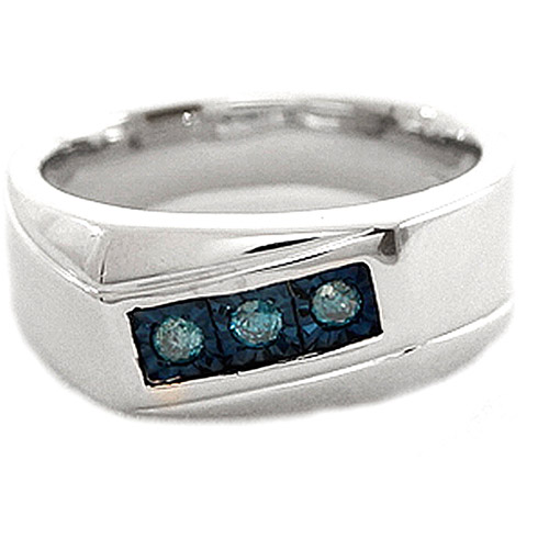 Men's Blue Diamond Accent Three-Stone Sterling Silver Ring
