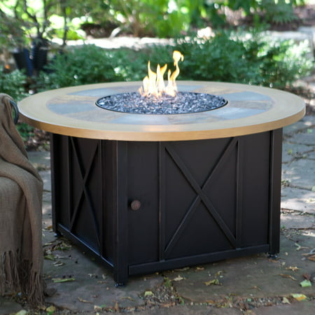 Lp Gas Firebowl - Endless Summer LP Gas Fire Pit Bowl with Slate & Faux Wood Mantel