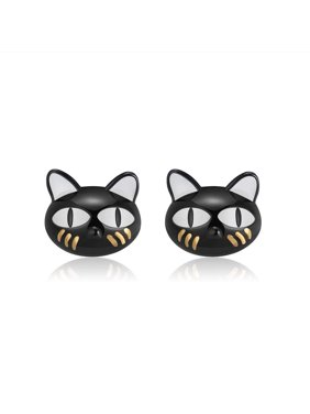 c6b0ca3f0 Product Image Ginny Black Cat Cute Kitty Kitten Stud Earrings Sterling  Silver Ginger Lyne Collection