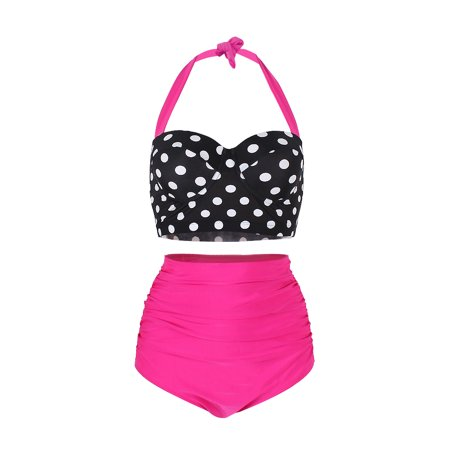 FeelinGirl Women's Retro Polka Underwire Bikini High Waisted Swimsuit Bathing -