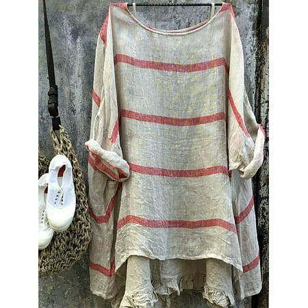Women Plus Size Summer Blouse Tunic Holiday Ladies Cotton Linen T-shirt Tops