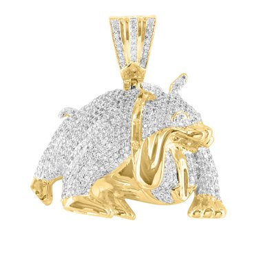 Brand New Versatile 14K Yellow Gold Bulldog Animal Lab Diamond Hot Pendant Charm