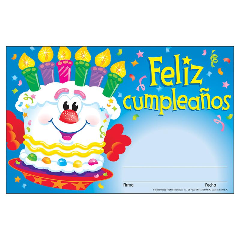 (12 Pk) Awards Feliz Cumpleanos Pastel Spanish Happy Birthday Cake