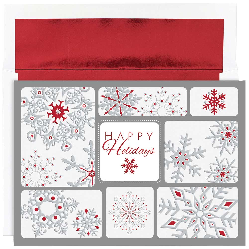 JAM Paper Christmas Card Set, Snowflake Collage Christmas Cards, 16/pack
